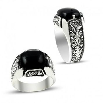 Oval onyx gemstone anatolian silver mens ring