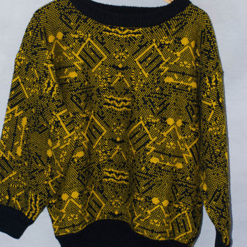 Vintage 1980's Black  And Yellow Abstract Print Esprit Sports Cosby Sweater/Jumper/Pullover Bright Oversized M