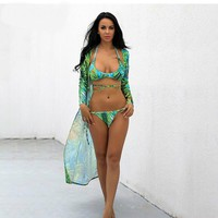 3 Piece Low Waist Floral Bikini Set