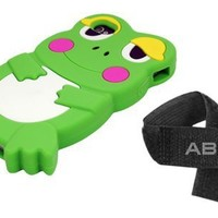 ECOMGEAR(TM) Green Cute 3D Frog Silicone Skin Case Cover for Apple iPhone 4 4S