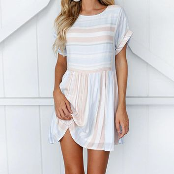 Women Stripe Dress Summer O Neck Short Sleeve Casual Loose Dresses High Quality Elegant Ladies Dress Jurken #VE
