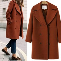 Fashion Medium Long Style Section Wool Lapel Cardigan Jacket Coat Brick red