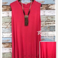 Coral Cut Out Sleeveless Scalloped Tunic Top