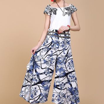 Women Retro Printing pants casual loose new style long pants