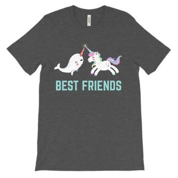(Unisex BC 3001 Soft Tee - Others) Best Friends Unicorn Narwhal Rainbow Magical