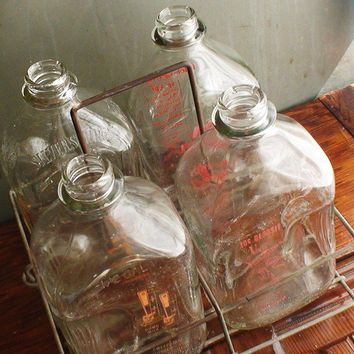 Vintage Glass Milk Bottles with Metal Case by AntiNu on Etsy