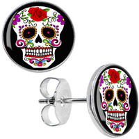 White Sugar Skull Stud Earrings | Body Candy Body Jewelry