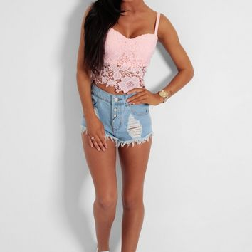 Sweet Dreams Baby Pink Lace Bralet Crop Top | Pink Boutique