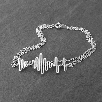 Multi Strand Soundwave Bracelet - Personalized Sound Wave Bracelet, Sound Wave Jewelry, Layered Bracelet