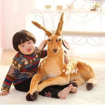 new lovely plush Sika deer toys big simulation lying Sika deer doll birthday gift toy about 90cm 0548