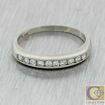 1930s Antique Art Deco Platinum 0.20ctw Diamond Wedding Band Ring