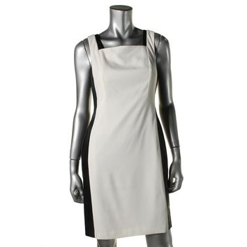 Julia Jordan Womens Crepe Faux Leather Trim Cocktail Dress