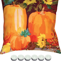 """Manual Woodworkers SLPPSF Pumpkins & Sunflowers Indoor Outdoor 18""""x18"""" Pillow with 6-Pack Tea Candles"""