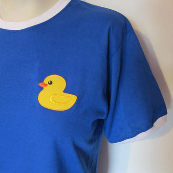 SQUEAKY CLEAN Rubber Ducky patch Ringer T-shirt S M Top kawaii Cute 8 10 12 vintage retro embroidered duck bath bubble sweet funny water sea