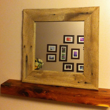 Rustic Barn Wood Frame Mirror by 3SistersCountryStore