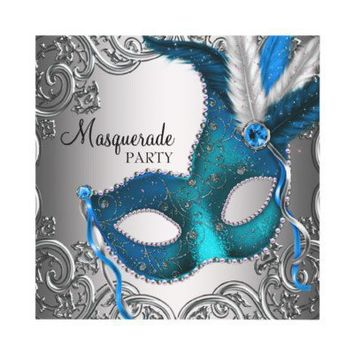 Elegant Silver Teal Blue Masquerade Party Custom Invites from Zazzle.com
