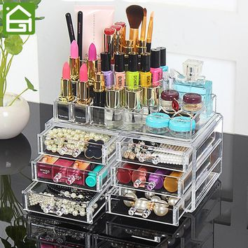 4 Layers Clear Acrylic Cosmetic Jewelry Organizer Jewelry Lip Moisturizer Storage Drawers Lipstick Lipbrush Nail Polish Holder