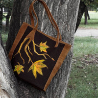 Suede and felt tote bag. Fall leaves decor purse, OOAK
