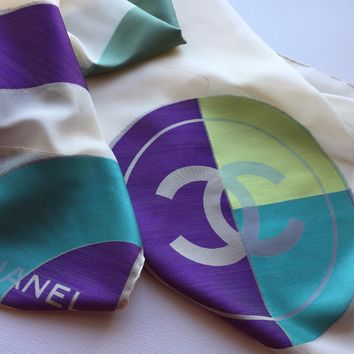 NEW AUTHENTIC CHANEL CIRCLE LOGO CC GEOMETRIC PRINT MULTI-COLOR 100% SILK SCARF