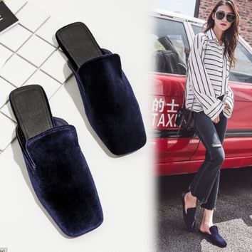 New Women Fashion Velvet Square Toe Flats Slip On Slippers Mules Loafers Shoes