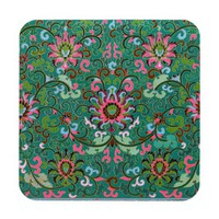 Antique floral and scroll vase print coaster
