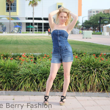 Cello Denim Tube Romper with drawstring and cuffed hem