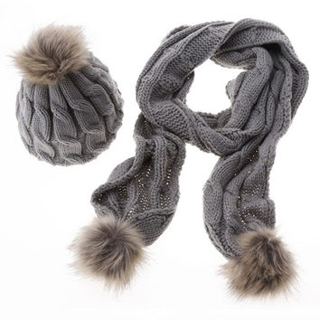 Casual Winter Warm Knit Scarf And Hat