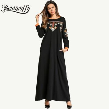Benuynffy Ethnic Embroidery Vintage A Line Dress Autumn Winter Ladies Casual O-neck Long Sleeve Women Elegant Maxi Dress Q861