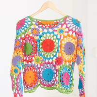Vintage '80s Rainbow Floral Crochet Sweater | Urban Outfitters