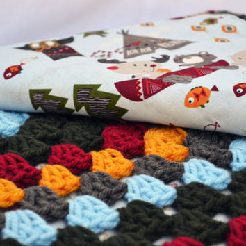 Fox and friends on an adventure crochet baby blanket, crib bedding, granny square reversible crochet baby blanket