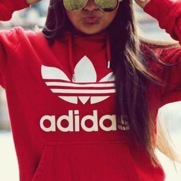 Adidas Fashion  Women Print Velvet Hoodie Sweatshirt Tops Sweater Pullover