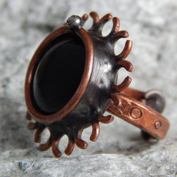 Handmade ring Black magic ring Copper ring Unique handcrafted ring Original gift Custom ring Steampunk ring Gift for girlfriend Gift for mom