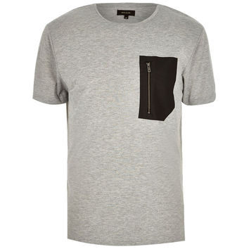 Grey Zip Pocket T-Shirt