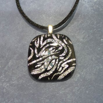 Zebra Print Necklace, Black and Silver Dichroic Pendant, Zebra Stripes - Safari - -5