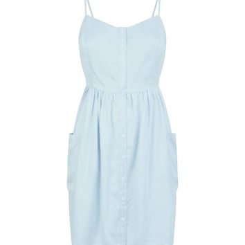 Petite Pale Blue Button Front Mini Sundress | New Look