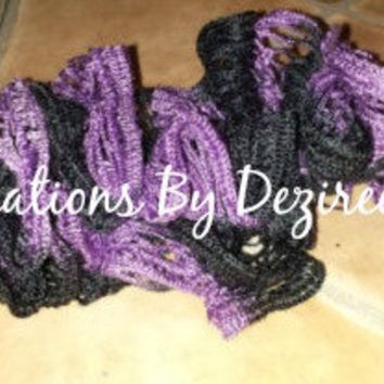 READY TO SHIP! Handmade crochet K State ruffle scarf!!