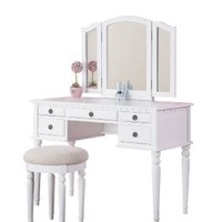 Bobkona St. Croix Collection Vanity Set with Stool, White:Amazon:Home & Kitchen