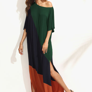 Asymmetric Shoulder Side Slit Cut And Sew Tee Dress | MakeMeChic.COM
