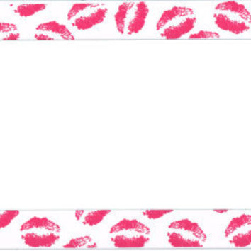 Pink Kisses on White Plastic License Plate Frame