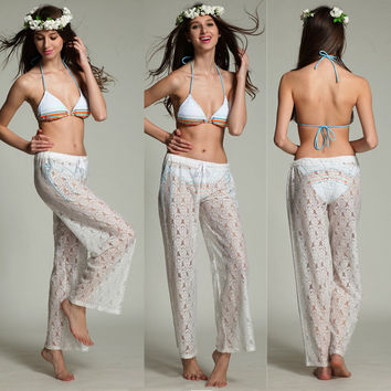 Women's White Lace Long Pants Jacquard Floral Beach Wear Summer Home Casual Pants Sheer Illusion Sexy Swimwear Pants 832