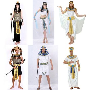 Cool Halloween Costumes Ancient Egypt Egyptian Pharaoh King Empress Cleopatra Queen Priest Costume Cosplay Clothing for Men WomenAT_93_12