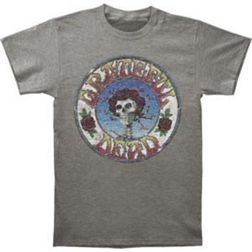 Grateful Dead Men's  Skull & Roses Dist. Slim Fit T-shirt Heather