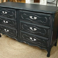 Reclaimed Vintage 6 Dr Black Painted French Paris Provential Dresser Chest of Drawers
