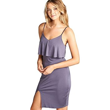 Lilac Gray Adjustable Cami Straps Bodycon Fit Dress
