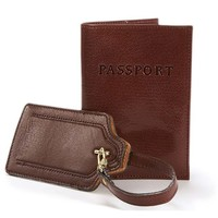One Kings Lane - Couples' Retreat - Passport Cover & Luggage Tag, Cocoa