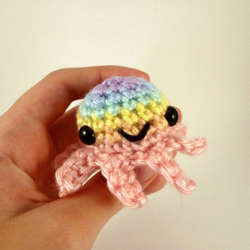Pastel Rainbow Striped Baby Octopus - Pink Base - Made to Order - Amigurumi Crochet Plushie