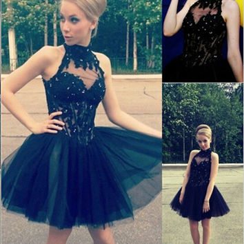 Short Lace Little Black Dress Homecoming Dresses