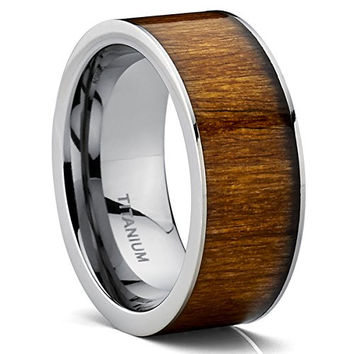 Flat Top Titanium Wedding Ring Band With Hawaiian Koa Wood Inlay, Comfort Fit 9 MM