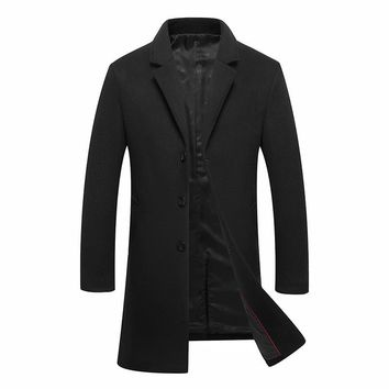 Long Slim Fit Black Gray Wool Trench Coat Casual Business Style