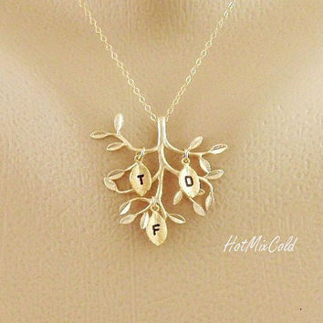 Family Tree Jewelry THREE initial Necklace Gold Live by hotmixcold